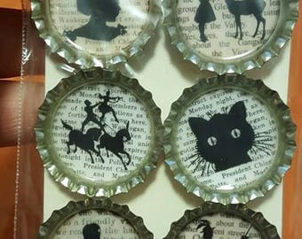 Black and White Silhouette Bottle Cap Magnets