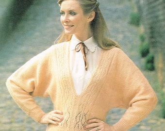 Vintage Downloadable Knitting Pattern - 1970s Woman's Deep V-neck Sweater with Bat Wing Sleeves - PDF downloadable - retro 70s 80s