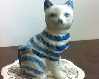Vintage Cat Figurine - Blue and White Ceramic Cat - Kitty Cat Ornament - Cat Lovers Gift
