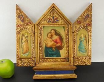 "Folding Panel 13"" Christian Icon Madonna & Child Angels - Gilt Gold Wood Wall Hanging Altar"