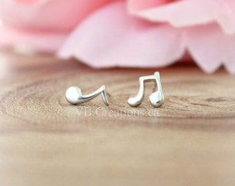 Music Note Studs Earrings - Music Notes - Musician Earrings - Musician Jewelry - Sterling Silver - Gift Ideas - Mother's day - Sister Gift