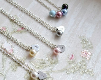 Personalized bridesmaid jewelry set of 3 three Swarovski Custom color bridesmaid necklace Bridesmaid heart necklace Bridesmaid gift set