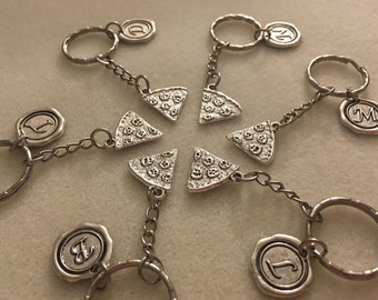 SET of Pizza keychains pizza party friendship gift best friend gift gifts friend friendship jewelry friendship keychain personalized jewelry