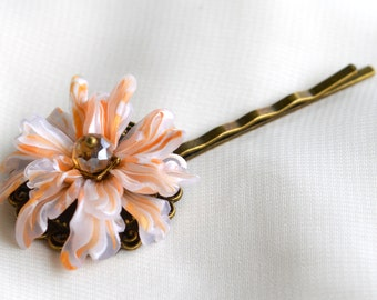 Elegant hair clip,polymer clay flower with Czech crystal bead on brass in gold,white and transculent colores.