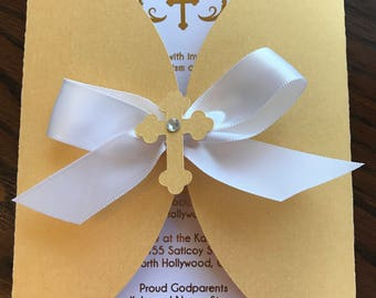 White and gold baptism invitation boy or girl