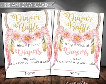 Dreamcatcher Diaper Raffle Card Insert, Coachella Diaper Raffle Insert, Dream Catcher Baby Shower, Pink and Gold, Instant Download #653