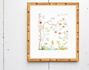 Gold Bamboo Frame - Add a frame to your Watercolor Print - SMc. Originals - watercolor, art, frame, gold, silver, bamboo, home decor,