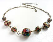 Necklace 'Tidir' - Traditional Berber beads, red, turquoise and blue enamels - Ethnic necklace, boho chic, statement necklace, handmade