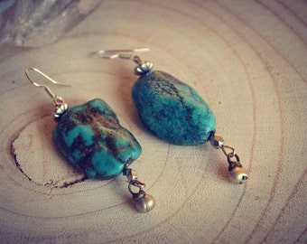 Turquoise Nuggets Earrings Tribal Ethnic Hippie Gypsy Nomade Native Navajo
