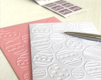 EASTER EGGS - Set of 6 Embossed Cards (No.38) - Pack of 6 White Easter Cards - Happy Easter Cards - Easter Egg Cards