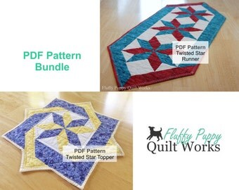 PDF Quilt Pattern Bundle, Quilted Table Runner Pattern, Candle Mat Pattern, Quilt Pattern PDF, Table Decor PDF Pattern, Quilt Pattern