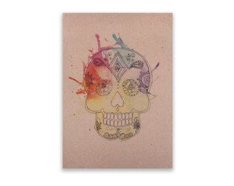 Notepad - Sugar Skull, Notepad, Stationery, Recycled Paper, Lined Writing, Watercolour Splatter, Hand Illustration
