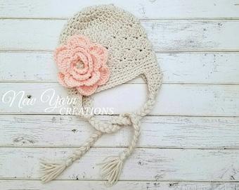 Crochet Girls Hat, Girls Snow Hat, Girl Winter Hats, Baby Girls Crochet Hat, Girls Hats, Toddler Winter Hat, Hats for Girls, MADE TO ORDER!
