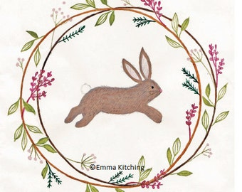 Bunny in spring wreath, Easter or Spring greeting card