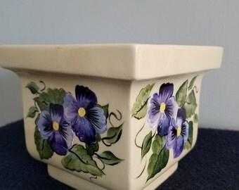 Pansy flowerpot/planter, purple Pansy ceramic flowerpot, handpainted pansies, spring flowers ceramic planter, hostess/housewarming gift
