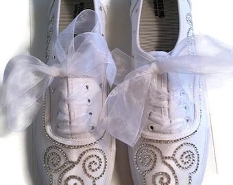 Disney Wedding Shoes Sneakers Crystal Rhinestones Mickey Mouse