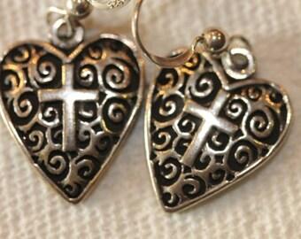 Sterling silver dangle heart cross scroll earrings hooks