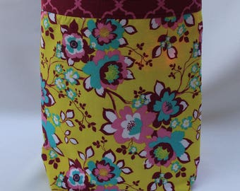 Ruby Floral on Mustard Yellow Background Carbage Bag