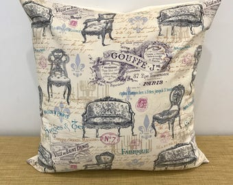 """French Fabric Antique Chairs Provincial Country Style Cushion Cover Throw Pillow. 18"""" (45cm). Cushion Australia"""