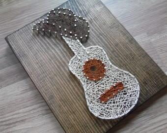Guitar String Art, Cowboy String Art, Cowboy Hat String Art, String Art Guitar, Guitar Art, Guitar Wall Art, Guitar Wall Hanging, Guitar