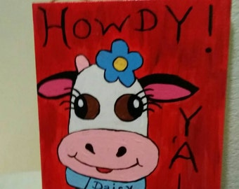 Howdy Y'all Daisy Cow Sign