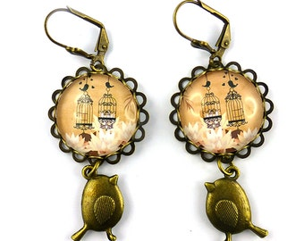 Earrings cabochons birds and cages, beige and black, old bronze pendants, retro style