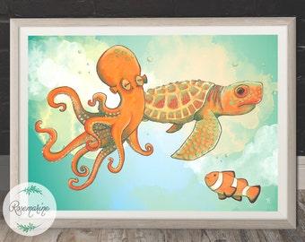 Printable art, Octopus, Sea turtle, Clown fish, Wall hanging, Art prints, Wall Decor, Animal poster, Sea animal art