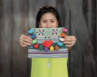 Vintage bags with Tassels and Coins , iPad Bag , Vintage clutch , Colorful Clutch , Ethnic bag