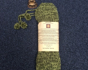 Pale Green and Olive Crochet Leg Warmers