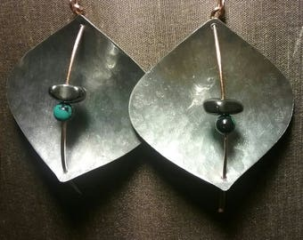 Concave Aluminum and Copper Earrings