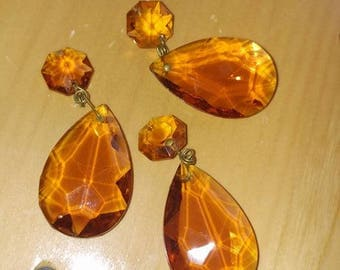 Vintage Light Amber Chandelier Crystals Lot of Two New Old