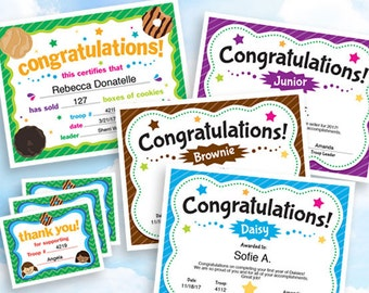 Girl Scouts 8-Certificate Bundle, instant download, customizable PDF for Girl Scout troop leader