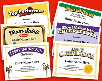 Fantasy football certificates fantasy football trophy cheerleading certificate 6 pack cheerleader awards cheer team printables child girls certificates yelopaper Choice Image