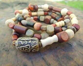 Wood Waist Beads   Elastic   31 in