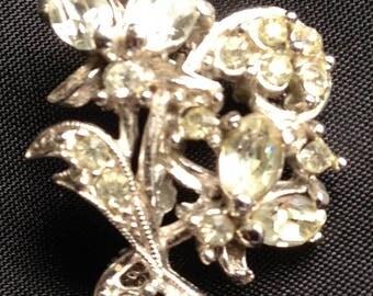 Hollycraft Rhinestone Floral Brooch