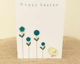 Floral button and Easter chick card