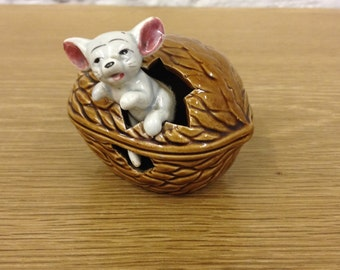 Vintage Beckwood Ceramic Mouse Coming Out of a Walnut. Very unusual 1930's Ornament.