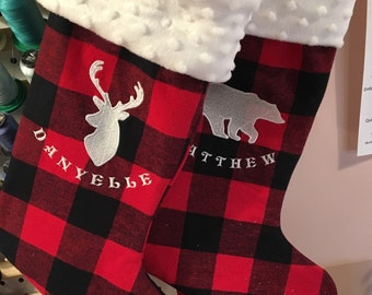 Lumberjack Christmas stocking, personalized Christmas stocking, buffalo plaid Christmas stocking