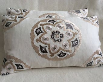 Embroidered Linen Designer Lumbar Pillow Covers - Medallion Pattern - Off White/ Beige/ Gray - 2pc Set - 12x20  Covers