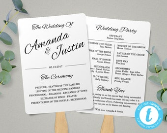 Printable Wedding Program Fan Template, Fan Wedding Program Template, Instant Download, Edit in Our Web App, Ceremony Program