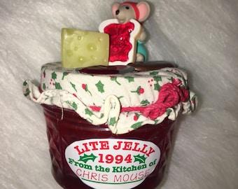Hallmark Chris Mouse ornament, Jelly ornament, Mouse ornament, Cheese & Jelly Ornament, Vintage Hallmark Mouse ornament, Kitchen ornament