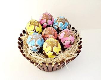Пасхальный набор резных свечей 7 штук - Пасха яйцо свеча - пасхальный подарок - коричневый - уникальный пасхальный сувенир - резные свечи