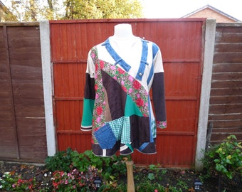 upcycled plus size clothing shabby chic clothing plus size upcycled denim tunic boho hippie clothes recycled bohemian upcycled tunic tops