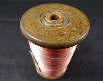 reels vintage wood silk rose old Lyon France vintagefr haberdashery vintage vintage silks