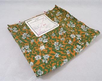 Coupon vintage fabric 100% silk Staron Paris green and orange vintage France vintagefr fashion