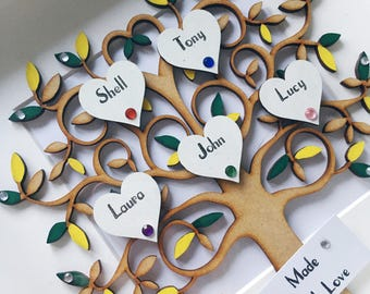 Personalised Family Tree Frame - up to 10 heart names - a Perfect Gift - Your choice of wording & colours