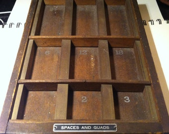 Vintage - Printer's Tray - Spacers and Quads - Typesetter's Tray - Display Case
