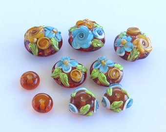 Floral Lampwork Beads, Autumn Flower Beads, Destash Lampwork Beads, Brown and Blue Glass Beads
