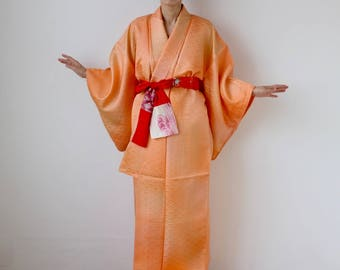 Japanese light orange silk kimono, Japanese kimono, orange kimono, wave kimono, Seigaiha, kimono dress, wrap dress, orange dress /1611