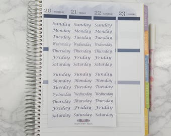 Days of Week Stickers, All Planners
